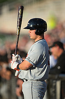 Alex Murphy (32) of the Delmarva Shorebirds waits for his turn to bat during the game against the Kannapolis Intimidators at Kannapolis Intimidators Stadium on April 23, 2016 in Kannapolis, North Carolina.  The Shorebirds defeated the Intimidators 4-2.  (Brian Westerholt/Four Seam Images)