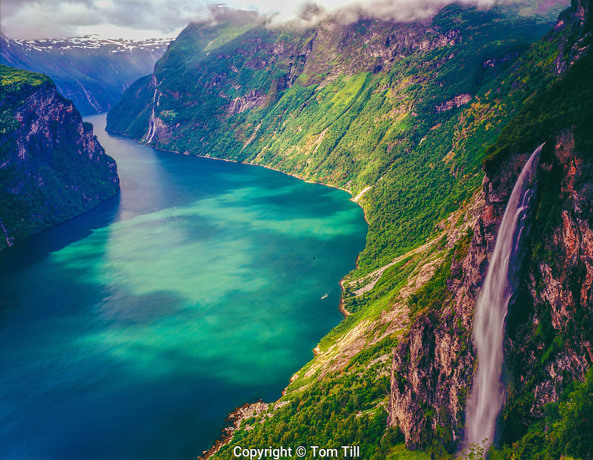 Waterfall above Geiranger Fjord, Western Fjords, Norway UNESCO World Heritage Site, 5oo foot wtaerfall Atlantic Ocean