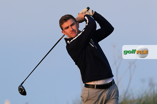Daniel O'Connor (MU) on the 17th tee during Round 1 of the Irish Intervarsity Championship at Rosslare Golf Club on Wednesday 4th November 2015.<br /> Picture:  Thos Caffrey / www.golffile.ie