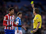 Atletico Madrid's Brazilian forward Diego da Silva Costa receives yellow card during the Spanish Copa del Rey (King's Cup) football match Atletico de Madrid vs Athletic de Bilbao at the Vicente Calderon stadium in Madrid on January 23, 2014.   PHOTOCALL3000/ DP
