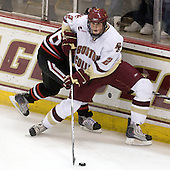 Kyle Kraemer (NU - 16), Brian Dumoulin (BC - 2) - The Boston College Eagles defeated the Northeastern University Huskies 5-1 on Saturday, November 7, 2009, at Conte Forum in Chestnut Hill, Massachusetts.