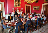 United States President Barack Obama and First Lady Michelle Obama host a lunch for members of the Bush family in the Red Room of the White House, May 31, 2012. Seated clockwise from the President are: former First Lady Barbara Bush, Bucky Bush, Doro Bush Koch, Jenna Bush Hager, Marvin Bush, Jody Bush, former U.S. President George W. Bush, Mrs. Obama, former U.S. President George H.W. Bush, Patty Bush, Bobby Koch, Barbara Bush, Margaret Bush, Jonathan Bush, and former First Lady Laura Bush..Mandatory Credit: Pete Souza - White House via CNP