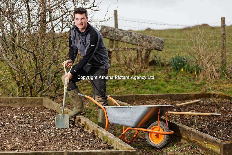 Gardening vlogger Huw Richards at his home near Tregaron, in Ceredigion County, Wales, UK. Friday 23 March 2018