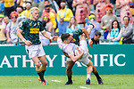 Alex Davis of England (L) is tackled by Zain Davids of South Africa (R) during the HSBC Hong Kong Sevens 2018 match between South Africa and England on April 7, 2018 in Hong Kong, Hong Kong. Photo by Marcio Rodrigo Machado / Power Sport Images