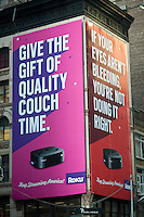 An advertisement for Roku, an internet media streaming device,  in New York on Friday, November 23, 2012.  (© Richard B. Levine)