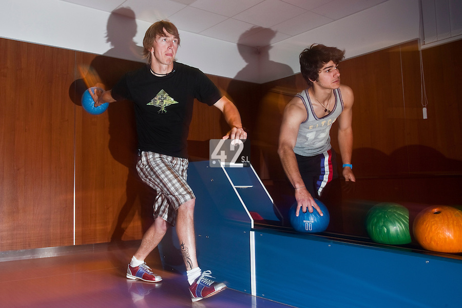 01 June 2010: Maxime Lefevre, Luc Piquet, of Rouen playing bowling the day before the start of the 2010 Baseball European Cup in Brno, Czech Republic.