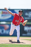 Richmond Flying Squirrels starting pitcher Kyle Crick (49) in action against the Bowie Baysox at The Diamond on May 25, 2015 in Richmond, Virginia.  The Flying Squirrels defeated the Baysox 6-1. (Brian Westerholt/Four Seam Images)