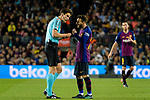 Lionel Messi of FC Barcelona (R) talks to FIFA Referee Munuera Montero (L) during the La Liga match between Barcelona and Real Sociedad at Camp Nou on May 20, 2018 in Barcelona, Spain. Photo by Vicens Gimenez / Power Sport Images