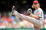 6 June 2010: Cincinnati Reds' starting pitcher Bronson Arroyo on the mound against the Washington Nationals at Nationals Park in Washington, DC. The Reds edged out the Nationals 5-4 in a ten inning game. Mandatory Credit: Ed Wolfstein Photo