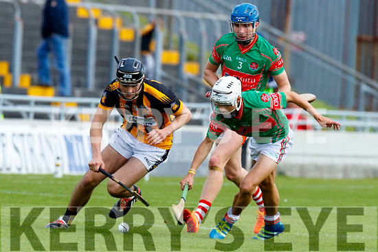 James Sheehan Crotta O'Neills in action against Niall O'Mahony Abbeydorney/Tralee Parnells in the Minor Hurling County Final   at Austin Stack Park on Sunday.