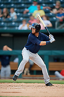 Mobile BayBears Erick Salcedo (6) at bat during a Southern League game against the Jacksonville Jumbo Shrimp on May 28, 2019 at Baseball Grounds of Jacksonville in Jacksonville, Florida.  Mobile defeated Jacksonville 2-1.  (Mike Janes/Four Seam Images)
