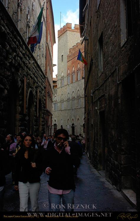 Via di Citta, Palazzo Chigi-Saracini 12th c., Palazzo Piccolomini delle Papesse 15th c., Siena, Italy