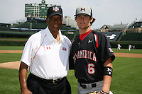 August 8, 2009:  Hall of Fame member Ernie Banks with Case Nixon before the Under Armour All-America game at Wrigley Field in Chicago, IL.  Photo By Mike Janes/Four Seam Images