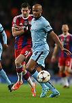 Robert Lewandowski of Bayern Munich puts Vincent Kompany of Manchester City under pressure - UEFA Champions League group E - Manchester City vs Bayern Munich - Etihad Stadium - Manchester - England - 25rd November 2014  - Picture Simon Bellis/Sportimage