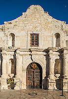 This is the front of the Alamo in San Antonio Texas in a verticle view.  This historic landmark is visited by millions of tourist every year in the city.