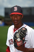 GCL Red Sox pitcher Gerson Bautista (56) poses for a photo after the second game of a doubleheader against the GCL Rays on August 4, 2015 at Charlotte Sports Park in Port Charlotte, Florida.  GCL Red Sox defeated the GCL Rays 2-1.  (Mike Janes/Four Seam Images)