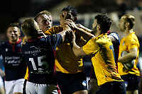 Things boil over between Luke Hibberd of London Scottish  and Jake Brady of Yorkshire Carnegie during the Championship Cup match between London Scottish Football Club and Yorkshire Carnegie at Richmond Athletic Ground, Richmond, United Kingdom on 4 October 2019. Photo by Carlton Myrie / PRiME Media Images