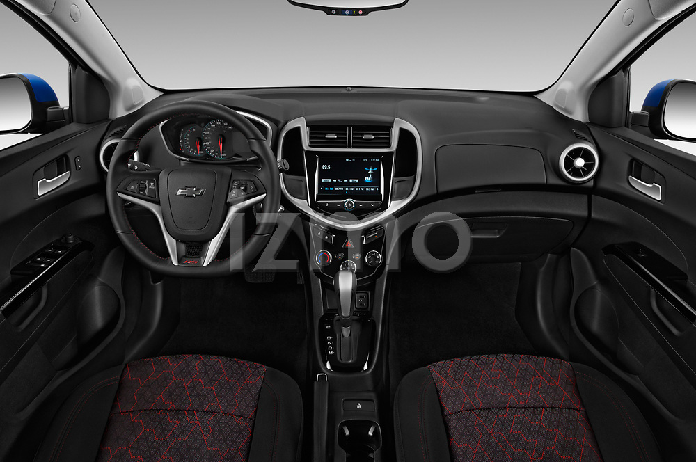 Stock photo of straight dashboard view of a 2019 Chevrolet Sonic LT RS Select Doors Door Hatchback