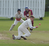 Cricket Scotland Scottish Cup Final - Watsonians CC V Heriots CC at Titwood - Glasgow - Heriots spinner Craig Adams tries juggling a caught and bowled chance to remove Watsonians Stuart Chalmers (who went on to make 54) - pic 1 of 3 - 02.9.12 - 07702 319 738 - clanmacleod@btinternet.com - www.donald-macleod.com (see story W Dick 077707 839 23)
