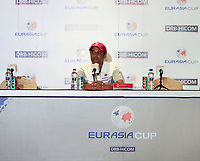 Arjun Atwal (Captain Team Asia) during an interview after the Saturday Foursomes of the Eurasia Cup at Glenmarie Golf and Country Club on the 13th January 2018.<br /> Picture:  Thos Caffrey / www.golffile.ie