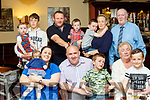 40 Rocks<br /> ------------<br /> Tralee man Aiden O'Sullivan had a family celebration for his 40th birthday in the Imperial hotel in the town to celebrate his 40th birthday last Friday, seated L-R Nicola Hutchinson, Ellie, Aiden,Ben&amp;Angela O'Sullivan with William Scanlon, back L-R Grace Scanlon, Alan Brosnan, Liam, Shane, Ciaran&amp;Bernie Scanlon with Jim O'Sullivan.