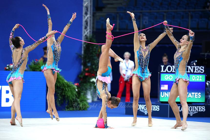 September 2, 2017 - Pesaro, Italy - USA group performs ball+rope routine at 2017 World Championships Pesaro, Italy.