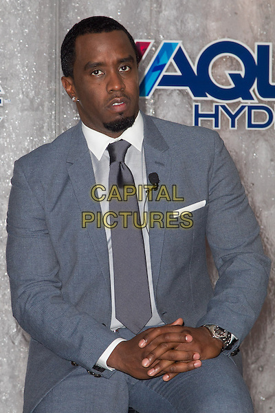 Sean Combs.Press conference to announce their newest venture, Water Brand AQUAhydrate, West Hollywood, California, USA. .February 27th 2013.half length grey gray suit tie shirt  diddy puff daddy goatee facial hair .CAP/ADM/RL.©Rose Lovelle/AdMedia/Capital Pictures.
