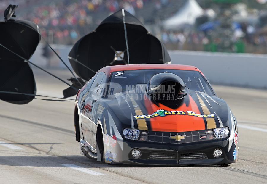 Apr. 26, 2013; Baytown, TX, USA: NHRA pro mod driver Mike Castellana during qualifying for the Spring Nationals at Royal Purple Raceway. Mandatory Credit: Mark J. Rebilas-