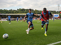 Myles Weston of Wycombe Wanderers and Paris Cowan Hall of Wycombe Wanderers during the Pre-Season Friendly match between Wycombe Wanderers and Queens Park Rangers at Adams Park, High Wycombe, England on the 22nd July 2016. Photo by Liam McAvoy / PRiME Media Images.