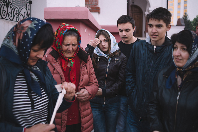 Alexander, Katrine and her family during the Easter morning waiting to baptize the food. Ribnita, Transnistria