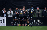Team Wellington's Ross Allen celebrates scoring the opening goal during the Oceania Football Championship final (first leg) football match between Team Wellington and Lautoka FC at David Farrington Park in Wellington, New Zealand on Sunday, 13 May 2018. Photo: Dave Lintott / lintottphoto.co.nz