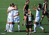 Marta congratulates Camile Abily, left, after scoring a penalty kick. LA Sol 2-0, over FC Gold, Sunday, May 24, 2009, at Buck Shaw Stadium, in Santa Clara, California.