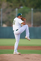 AZL Athletics starting pitcher Henderson Hurtado (51) delivers a pitch to the plate against the AZL Reds on July 16, 2017 at Lew Wolff Training Complex in Mesa, Arizona. AZL Athletics defeated the AZL Reds 13-5. (Zachary Lucy/Four Seam Images)