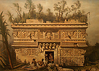 Nineteenth century lithograph entitled Las Monjas, Chichen Itza by Frederick Catherwood in the Casa Catherwood in Merida, Yucatan, Mexico