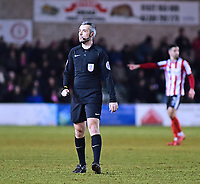 Referee Sebastian Stockbridge<br /> <br /> Photographer Andrew Vaughan/CameraSport<br /> <br /> The EFL Sky Bet League Two - Lincoln City v Cheltenham Town - Tuesday 13th February 2018 - Sincil Bank - Lincoln<br /> <br /> World Copyright &copy; 2018 CameraSport. All rights reserved. 43 Linden Ave. Countesthorpe. Leicester. England. LE8 5PG - Tel: +44 (0) 116 277 4147 - admin@camerasport.com - www.camerasport.com