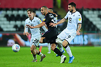 Darren Pratley of Charlton Athletic is fouled by Borja Baston of Swansea City during the Sky Bet Championship match between Swansea City and Charlton Athletic at the Liberty Stadium in Swansea, Wales, UK.  Thursday 02 January 2020