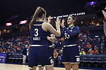 CHARLOTTESVILLE, VA - FEBRUARY 15: Notre Dame's Kathryn Westbeld (33) and Marina Mabrey (3). The University of Virginia Cavaliers hosted the University of Notre Dame Fighting Irish on February 15, 2018 at John Paul Jones Arena in Charlottesville, VA in a Division I women's college basketball game. Notre Dame won the game 83-69.