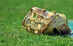 "21 June 2011: Washington Nationals third baseman Ryan Zimmerman's ""gold"" Rawlings glove lies on the turf during batting practice prior to a game against the Seattle Mariners at Nationals Park in Washington, District of Columbia. The Nationals rallied from a 5-1 deficit, scoring 5 runs in the bottom of the 9th, to defeat the Mariners 6-5 in inter-league play. Mandatory Credit: Ed Wolfstein Photo"