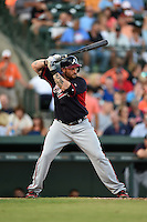 Atlanta Braves outfielder Jonny Gomes (7) during a Spring Training game against the Baltimore Orioles on April 3, 2015 at Ed Smith Stadium in Sarasota, Florida.  Baltimore defeated Atlanta 3-2.  (Mike Janes/Four Seam Images)