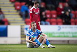 St Johnstone v Aberdeen&hellip;15.04.17     SPFL    McDiarmid Park<br />Steven MacLean reacts after being brought down in the box by Anthony O&rsquo;Connor<br />Picture by Graeme Hart.<br />Copyright Perthshire Picture Agency<br />Tel: 01738 623350  Mobile: 07990 594431
