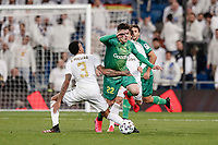 6th February 2020; Estadio Santiago Bernabeu, Madrid, Spain; Copa Del Rey Football, Real Madrid versus Real Sociedad; Aner Barrenetxea (Real Sociedad) skips over the tackled from Eder Militao (Real Madrid)