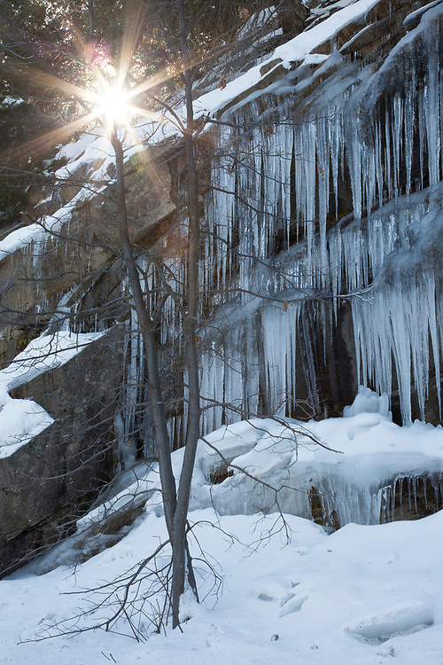 During the cold months of winter, large icicles form profusely on the cliffs  surrounding Yosemite Valley.