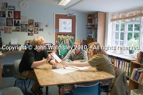 English class with Philipp Klaus, Summerhill School, Leiston, Suffolk. The school was founded by A.S.Neill in 1921 and is run on democratic lines with each person, adult or child, having an equal say.  You don't have to go to lessons if you don't want to but could play all day.  It gets above average GCSE exam results.