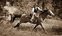 Train robbery, cowboys on horseback. Riding with guns. Western theme. Kettle Valley Railway. Summerland B.C.