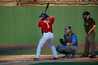 Potomac Nationals Jakson Reetz (1) at bat in front of catcher Miguel Amaya and umpire Josh Gilreath during a Carolina League game against the Myrtle Beach Pelicans on August 14, 2019 at Northwest Federal Field at Pfitzner Stadium in Woodbridge, Virginia.  Potomac defeated Myrtle Beach 7-0.  (Mike Janes/Four Seam Images)