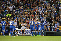Chelsea players celebrate their third goal..Manchester City defeated Chelsea 4-3 in an international friendly at Busch Stadium, St Louis, Missouri.