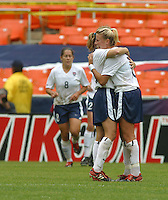 Aly Wagner celebrates , USWNT vs Canada April 26, 2003.