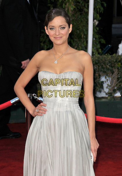 MARION COTILLARD.At The 14th annual Screen Actors Guild Awards (SAG Awards)  held at Shrine Auditorium, Los Angeles, California USA, January 27, 2008..half length hand on hip strapless grey gray dress.CAP/DVS.©Debbie VanStory/Capital Pictures