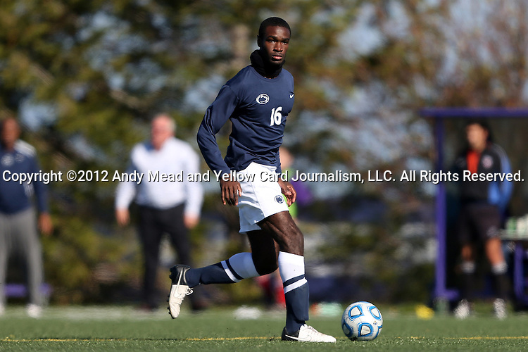 21 October 2012: Penn State's Akil Howard. The Northwestern University Wildcats played the Penn State University Nittany Lions at Lakeside Field in Evanston, Illinois in a 2012 NCAA Division I Men's Soccer game. Penn State won the game 1-0 in golden goal overtime.