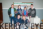 Moyvane Badminton Tournament : taking part in the annuakl Moyvane Badminton event on Sunday last at the Moyvane Sports centre were in front  James Beasley, Castleisland & Daniel O'Connor, Castleisland. Back : John O'Keeffe, Killarney, Maureen Bradley, Anne Beasley, Castleisland & Paul Hayes, Listowel.